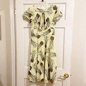 Unique Vintage Yellow Pineapple Swing Dress